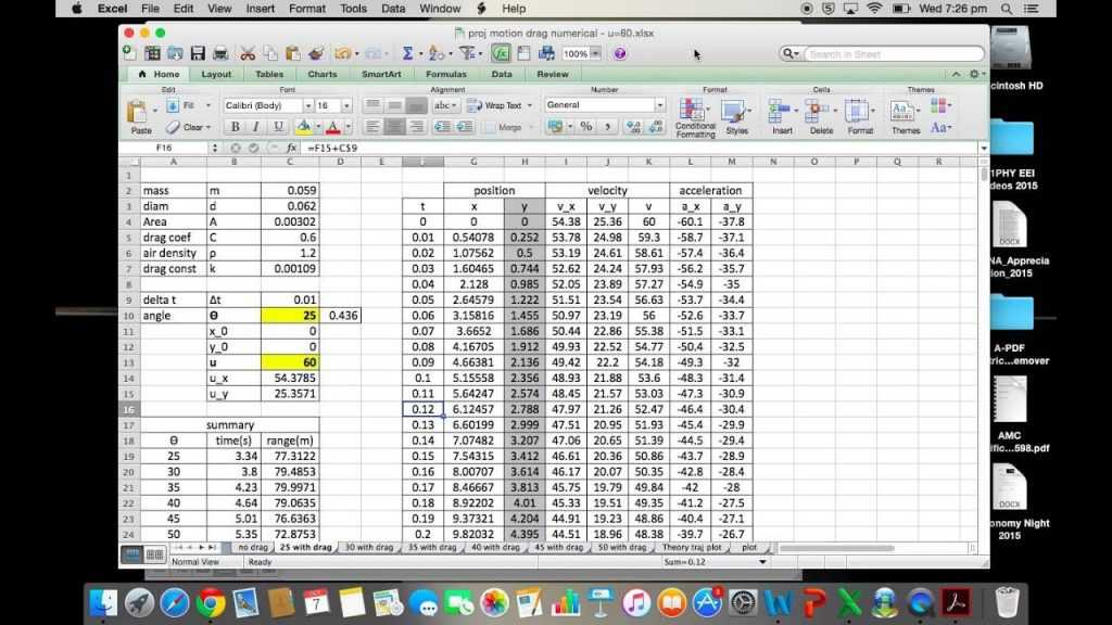 Modelling Projectile Motion In Excel YouTube