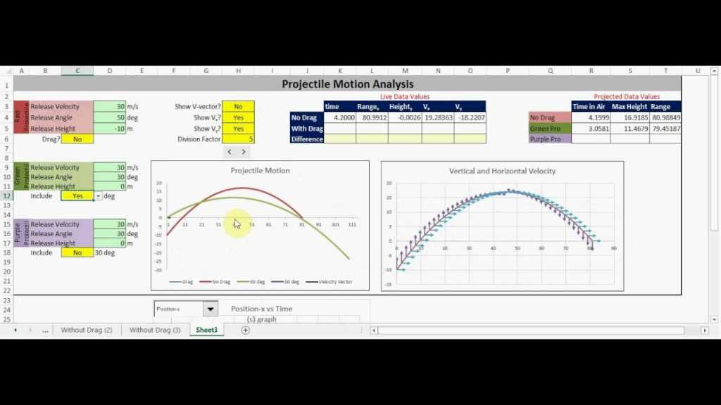 Projectile Motion Excel Application YouTube