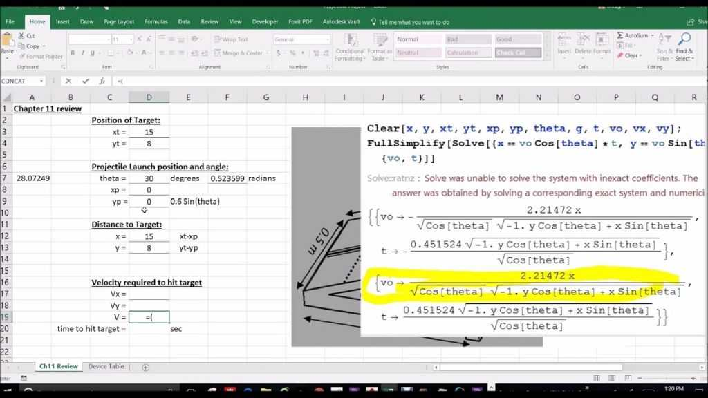 Projectile Motion Excel Sheet YouTube