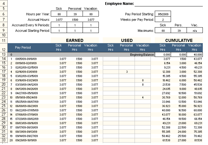 Employee PTO Tracker Excel Template Free Xlstemplates