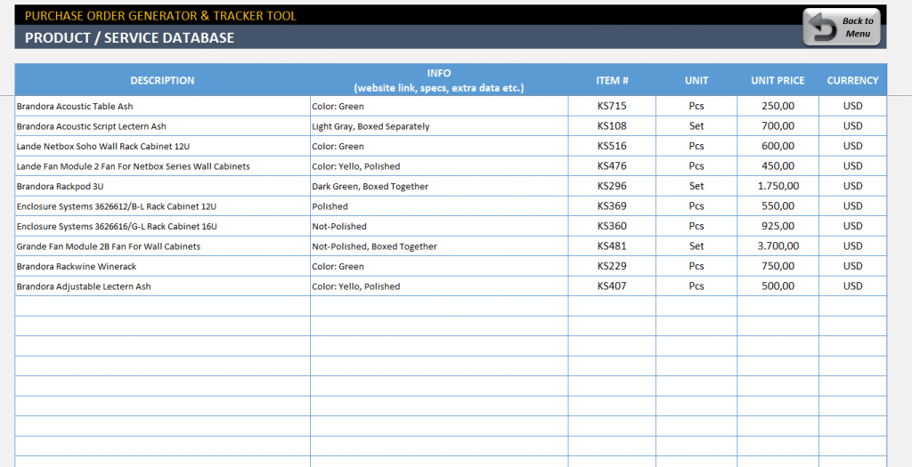 Excel Purchase Order Template Ready To Download