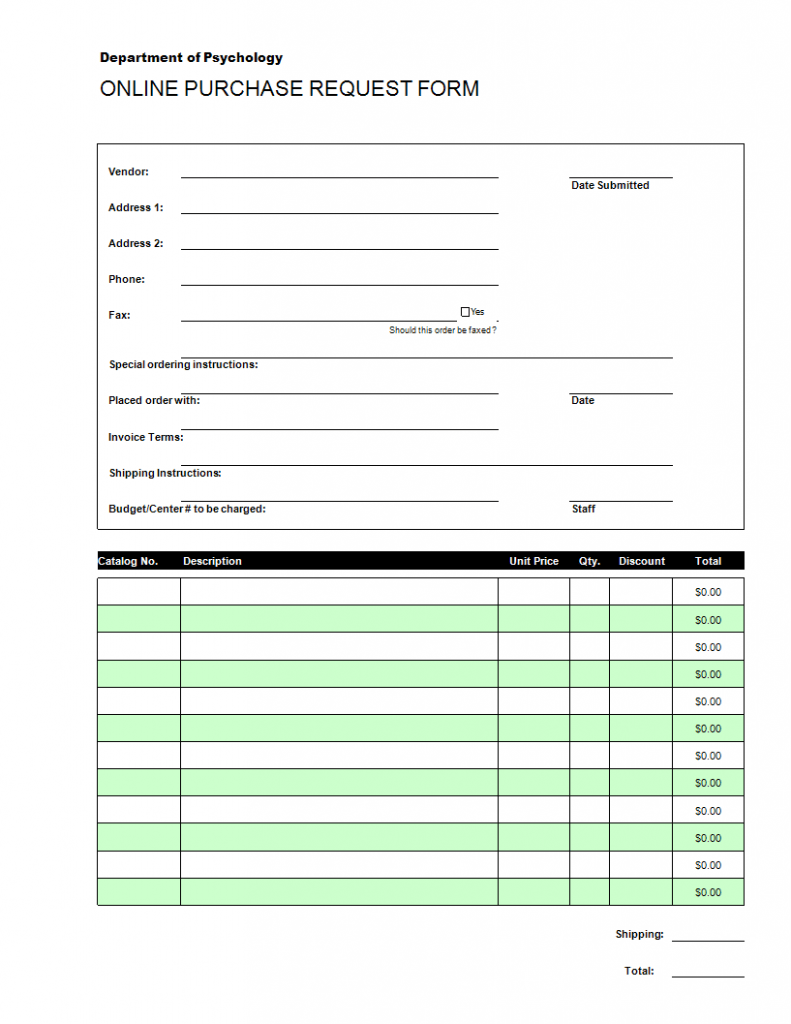 Online Purchase Order Request Excel Templates At