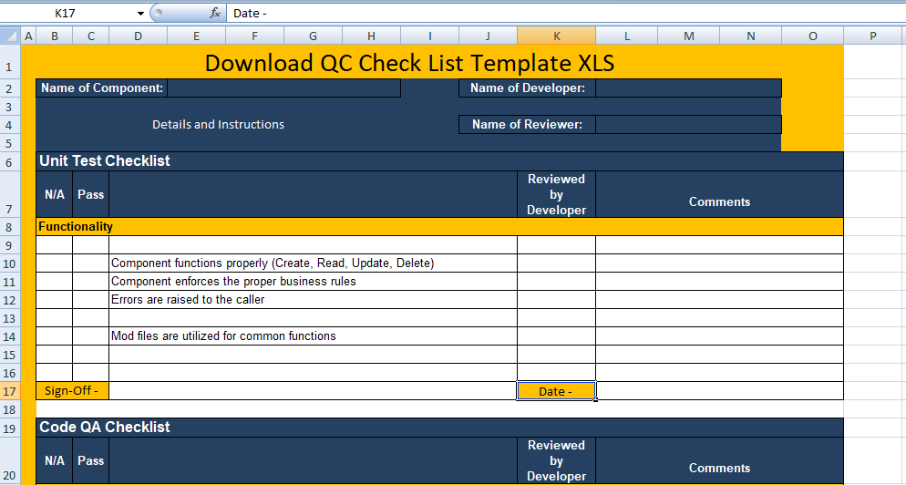 Download QC Check List Template XLS Free Excel