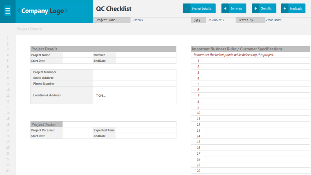 QC CheckList Excel Project Management Templates