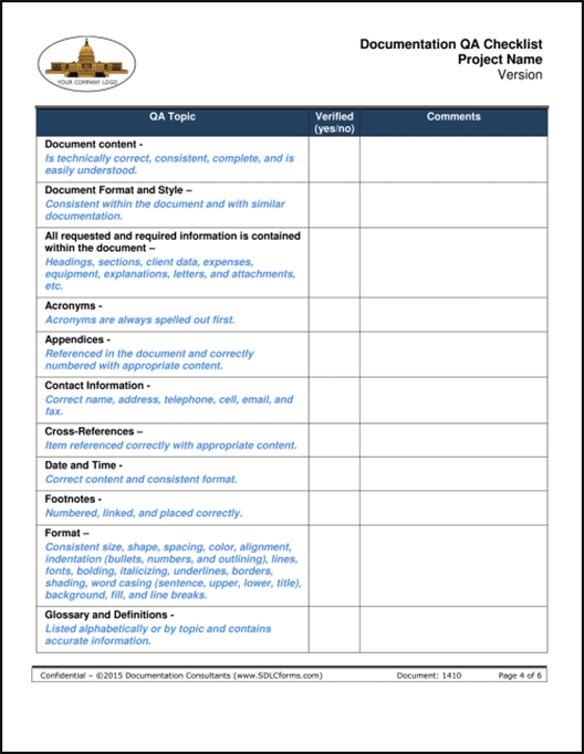 SDLCforms Documentation QA Checklist Template