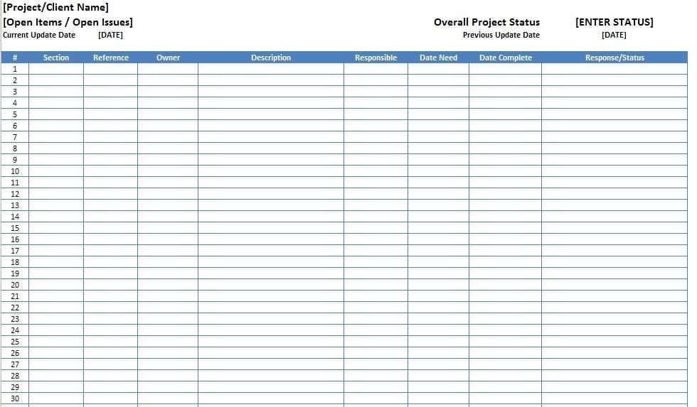 Open Items Issues Log List Template Excel XLS Excel