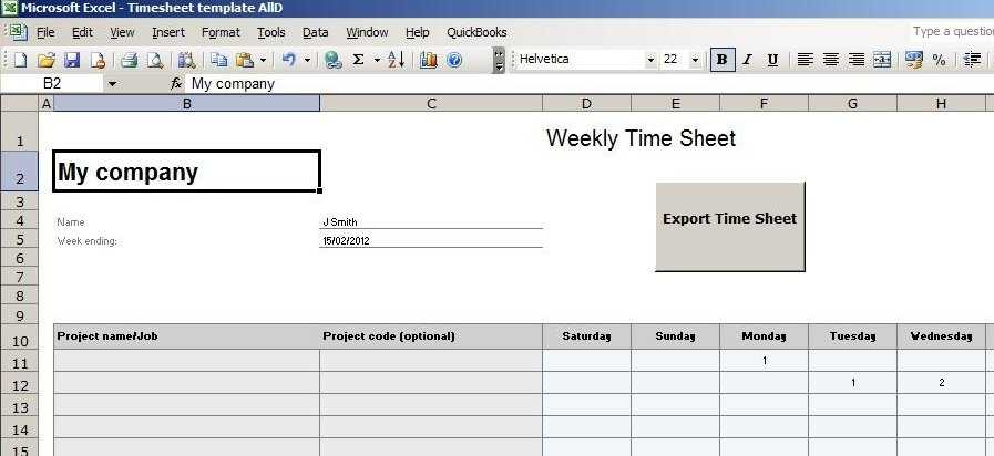 Excel Timesheet Template For Quickbooks DriverLayer