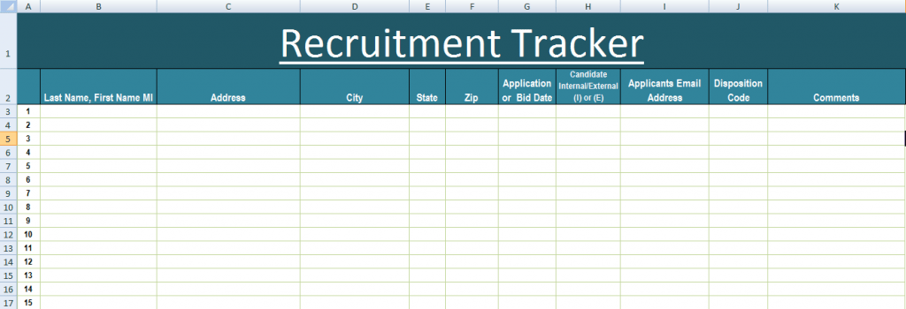 Recruitment Tracker Excel Template XLS Excel Templates