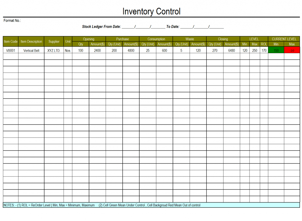Inventory Reorder Point Excel Template Akademiexcel