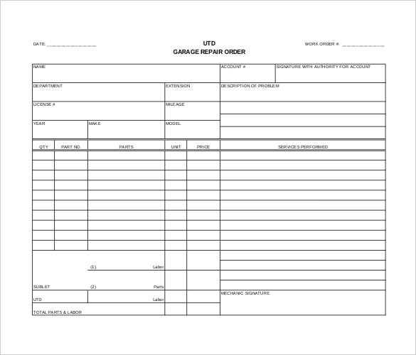 Order Template 20 Free Word Excel PDF Documents