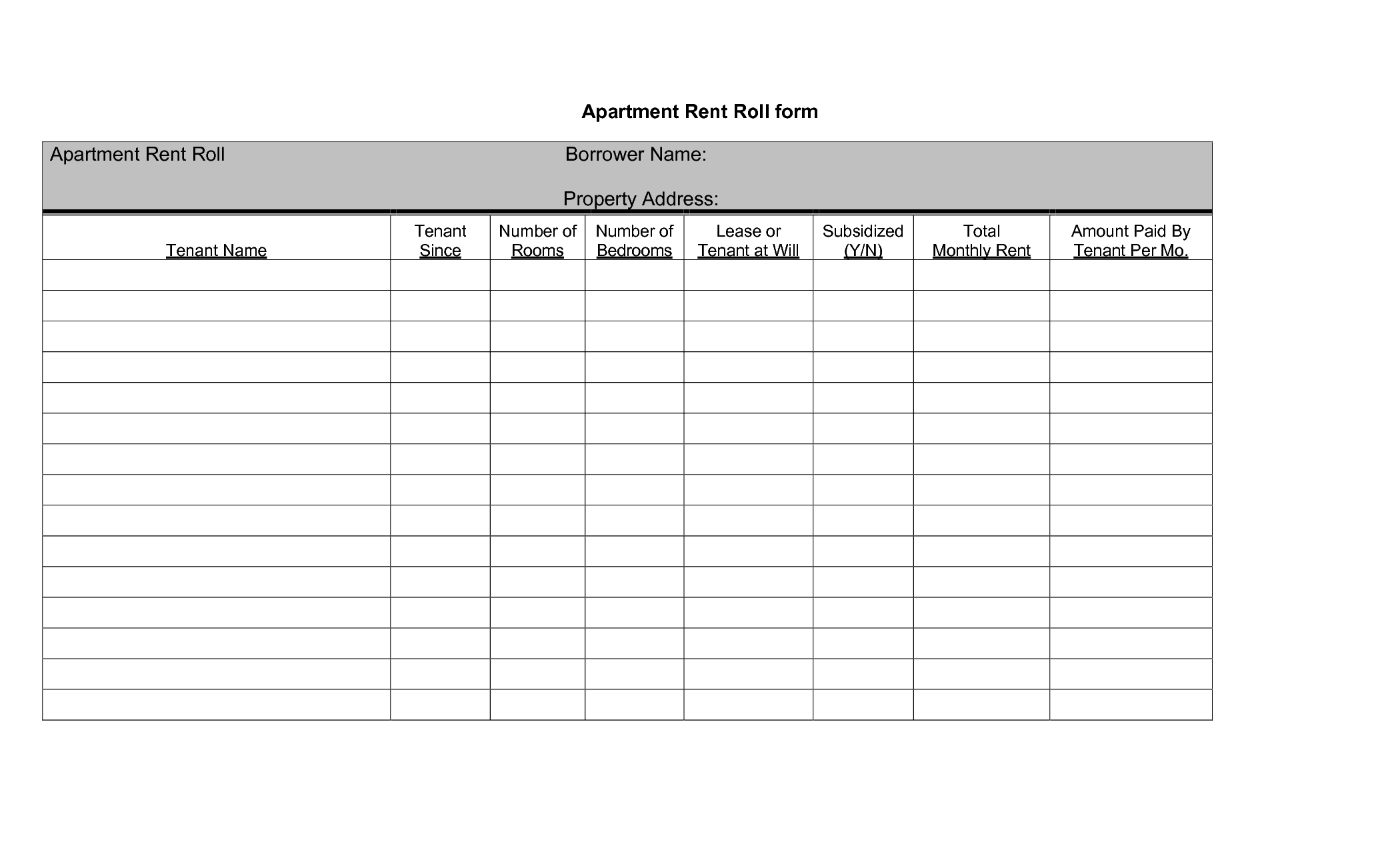 Rent Roll Templates Find Word Templates