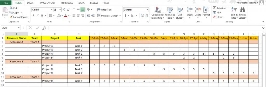 Excel Based Resource Plan Template Free Simple Business