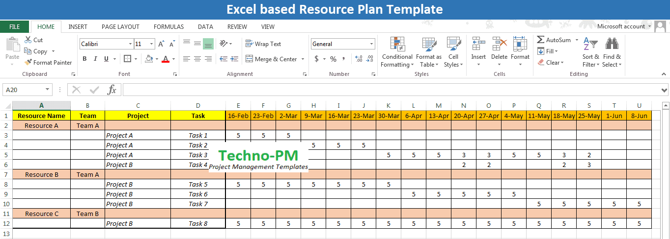Excel Based Resource Plan Template Free Download Project