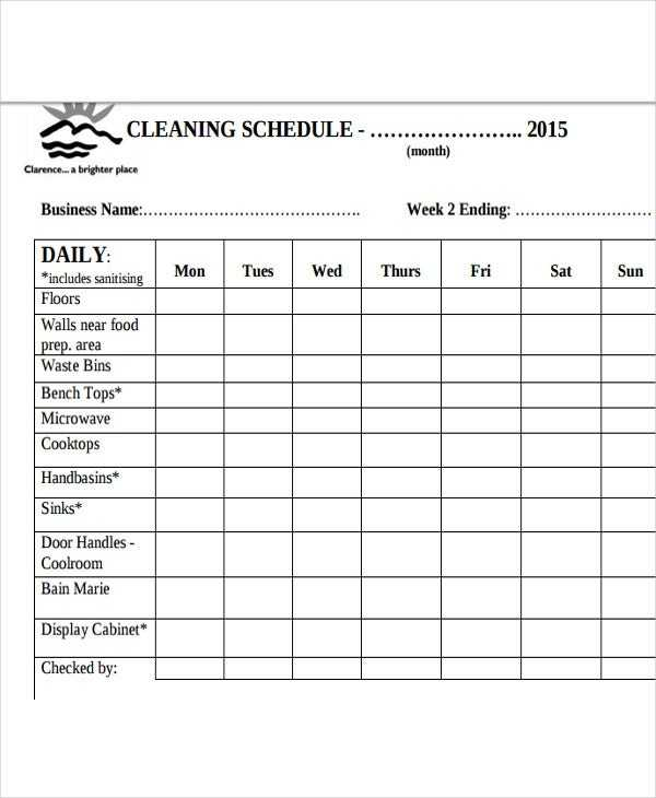Restaurant Cleaning Schedule Templates 14 Free Word PDF