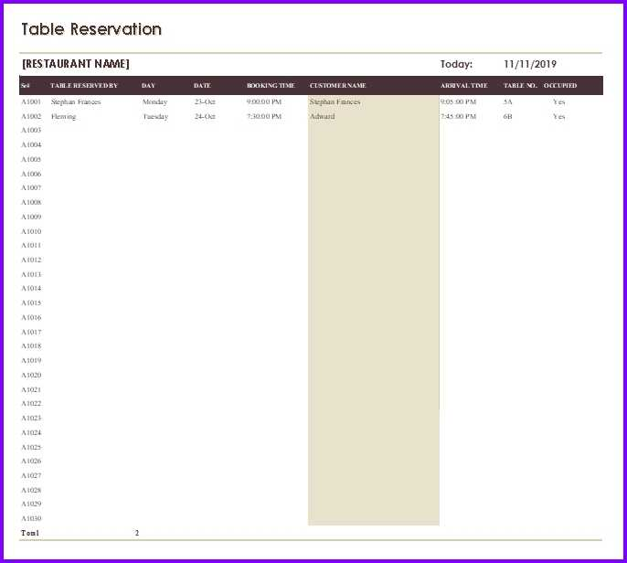 Restaurant Reservation Template EXCELTEMPLATES