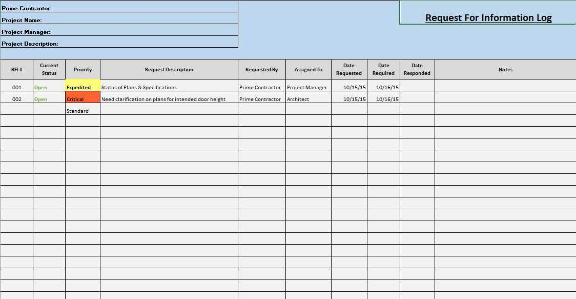 Construction Rfi Log Template Excel TUTORE ORG Master