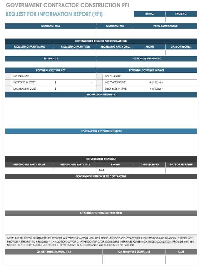 Free Construction RFI Templates And Forms Smartsheet