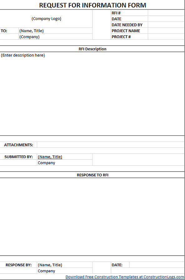 Free Request For Information RFI Form Template Excel