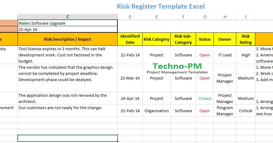 Risk Register Template Excel Free Download Free Project