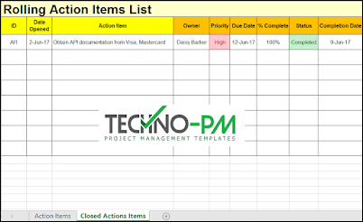 Action Items Template For Excel Project Management Templates