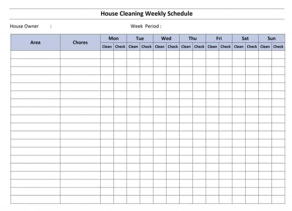 House Cleaning Schedule Template Word Excel