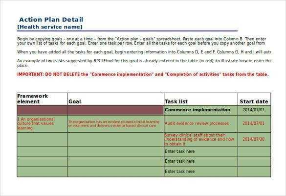 FREE 11 Action Plan Templates In Excel MS Word