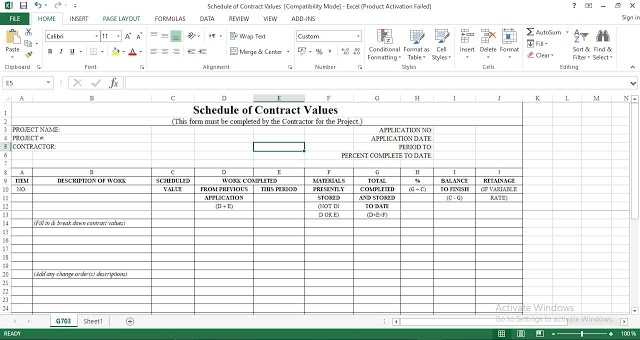 Download Schedule Of Contract Values Excel Template