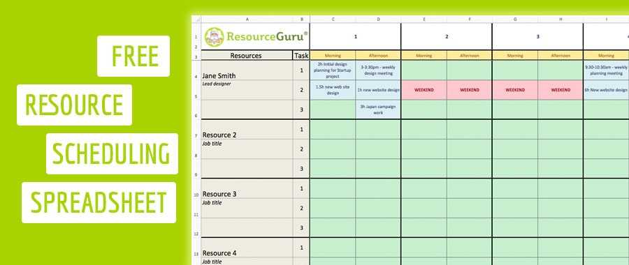 Download A Free Resource Scheduling Template For Excel