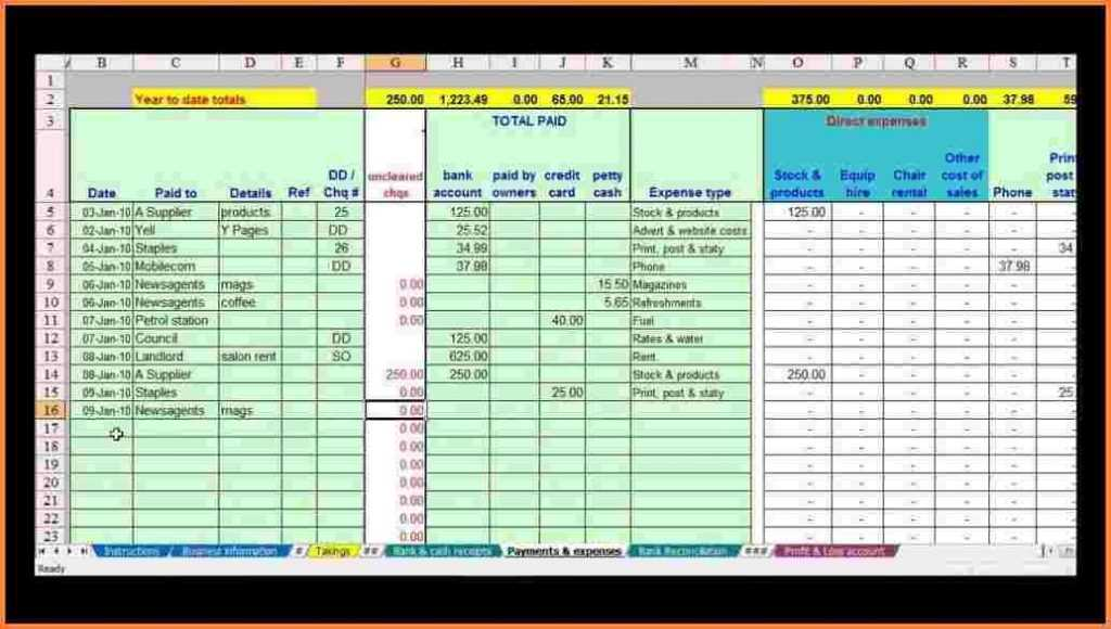 10 Self Employed Spreadsheet Template Excel