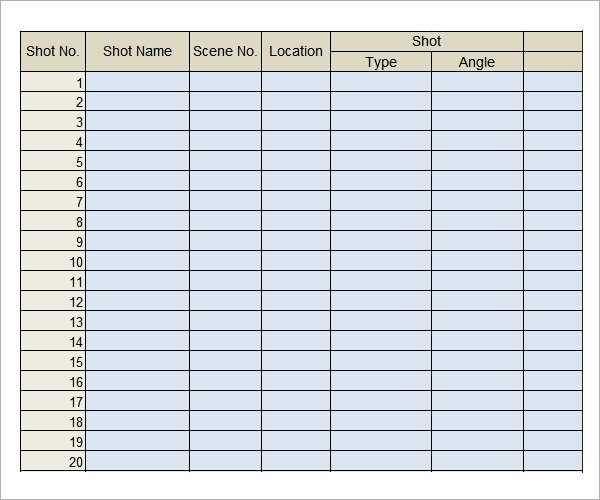FREE 8 Shot List Templates In PDF MS Word Excel