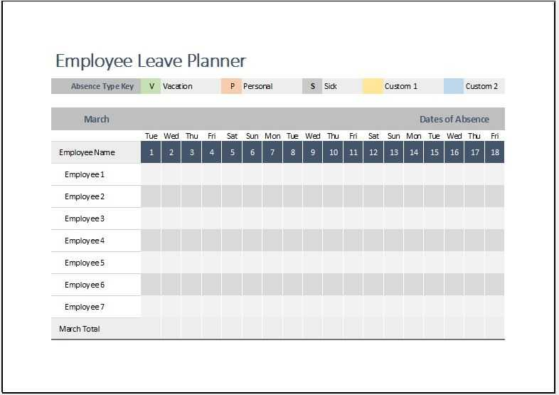 Employee Leave Planner Template For MS Excel Word