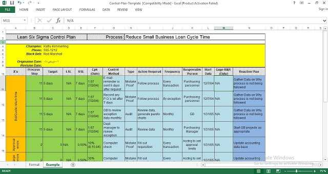 Six Sigma Control Plan Excel Template