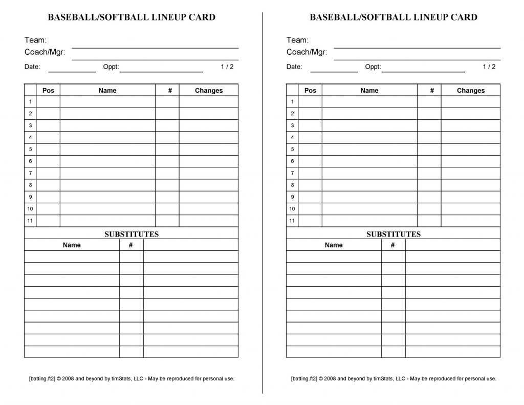 Softball Lineup Template Excel Addictionary