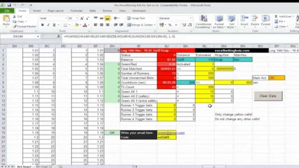 Fully Auto Excel Spreadsheet Betting Bot For Bet Angel