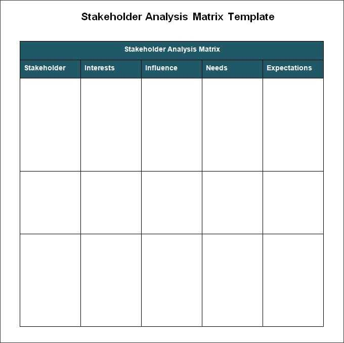 Stakeholder Analysis Template 8 Free Word Excel PDF