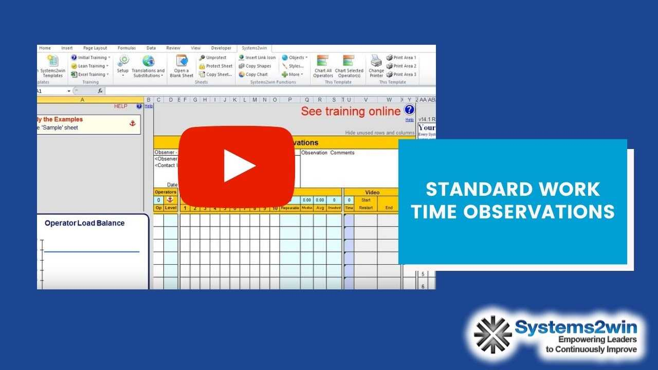 Standard Work Combination Sheet YouTube