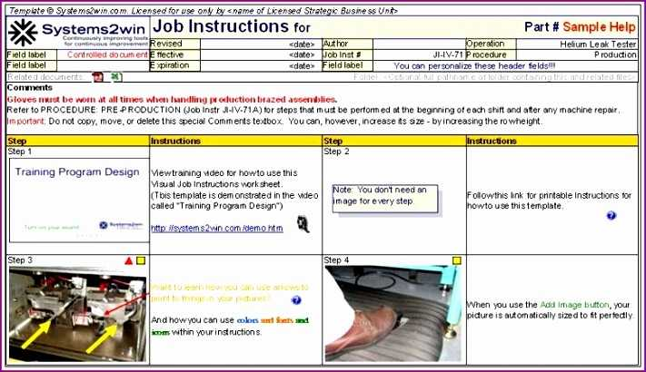 10 Standard Work Instructions Excel Template Excel
