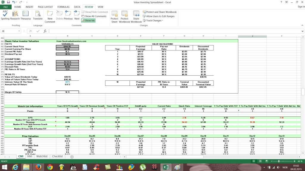Free Value Investing Excel Stock Spreadsheet Free Value