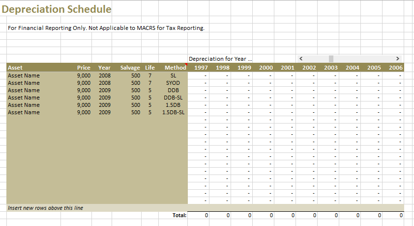 9 Free Depreciation Schedule Templates In MS Word And MS Excel