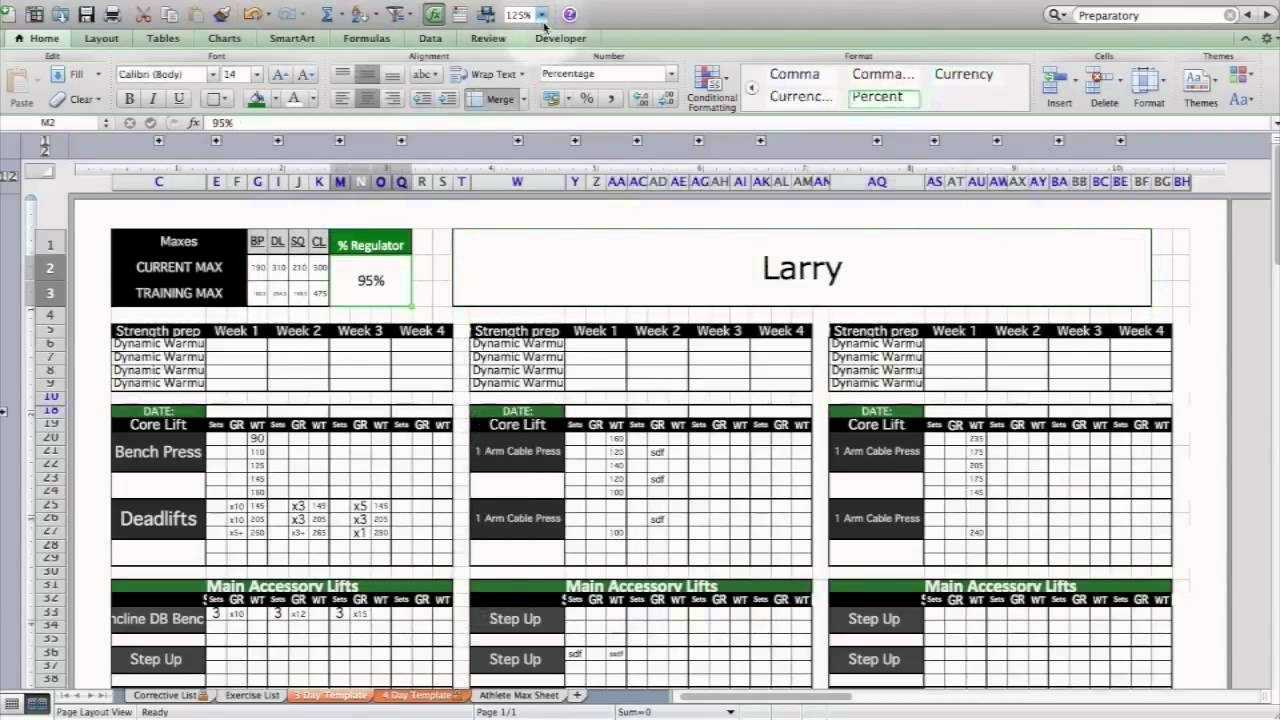 Strength Conditioning Excel Template Level 1 YouTube