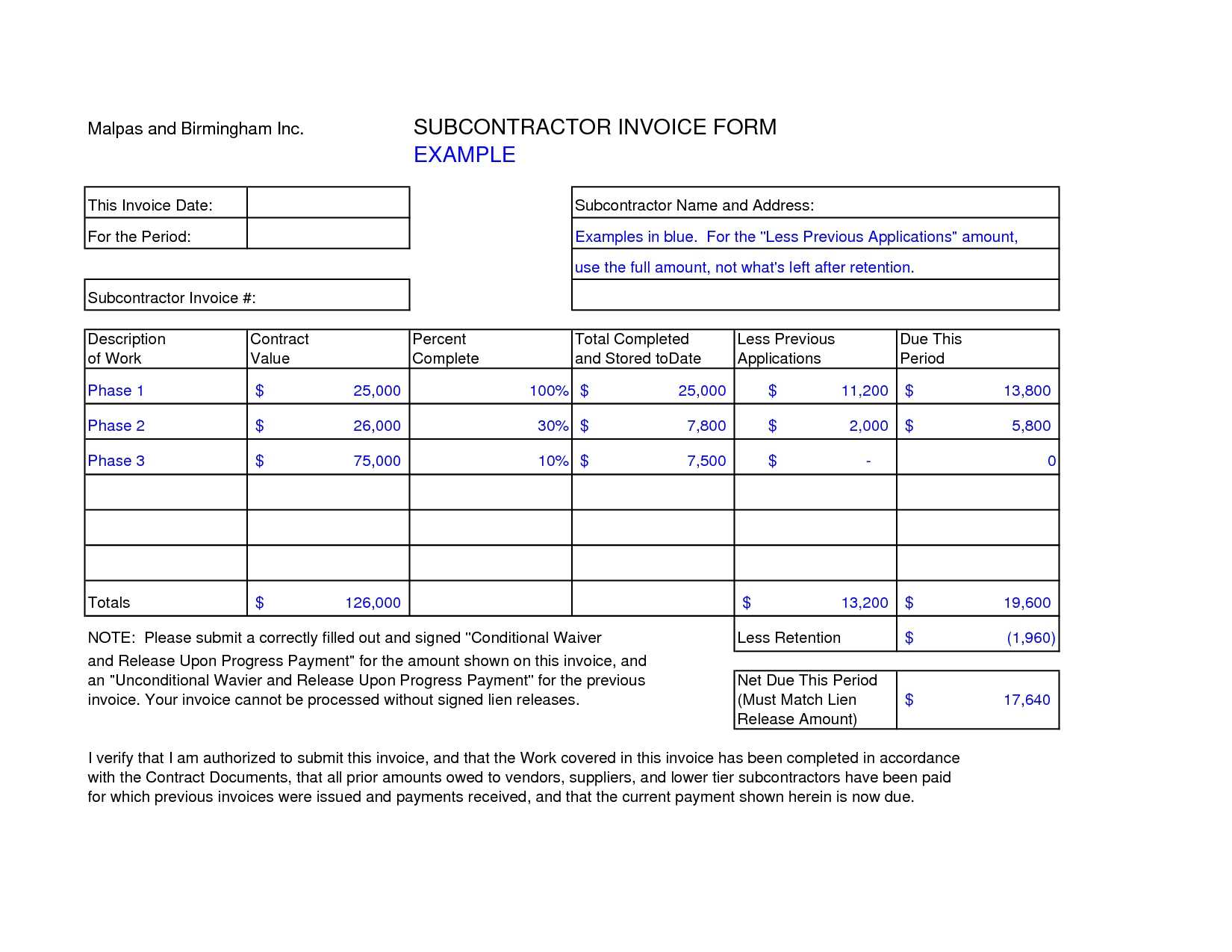 Subcontractor Invoice Template Excel Invoice Example