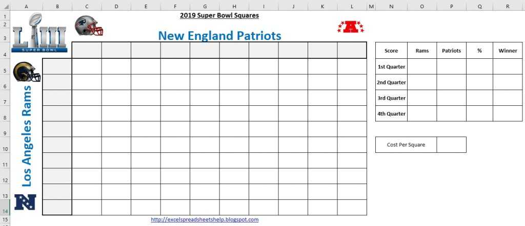 Printable Super Bowl Squares 2019 PrintableTemplates