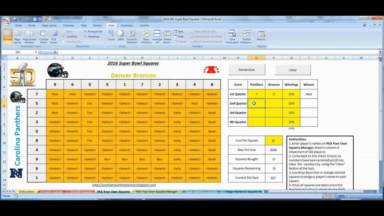 Super Bowl Squares 2016 Excel Template For Office Pools