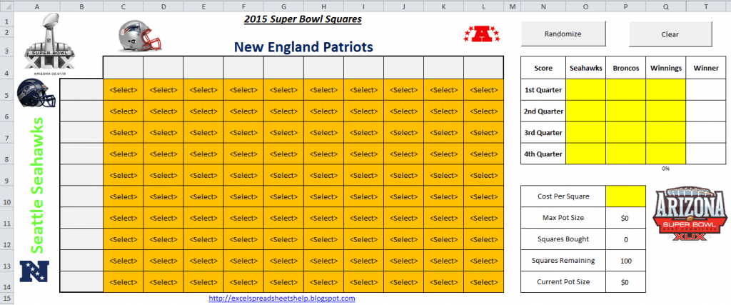 Excel Spreadsheets Help 2015 Super Bowl Squares