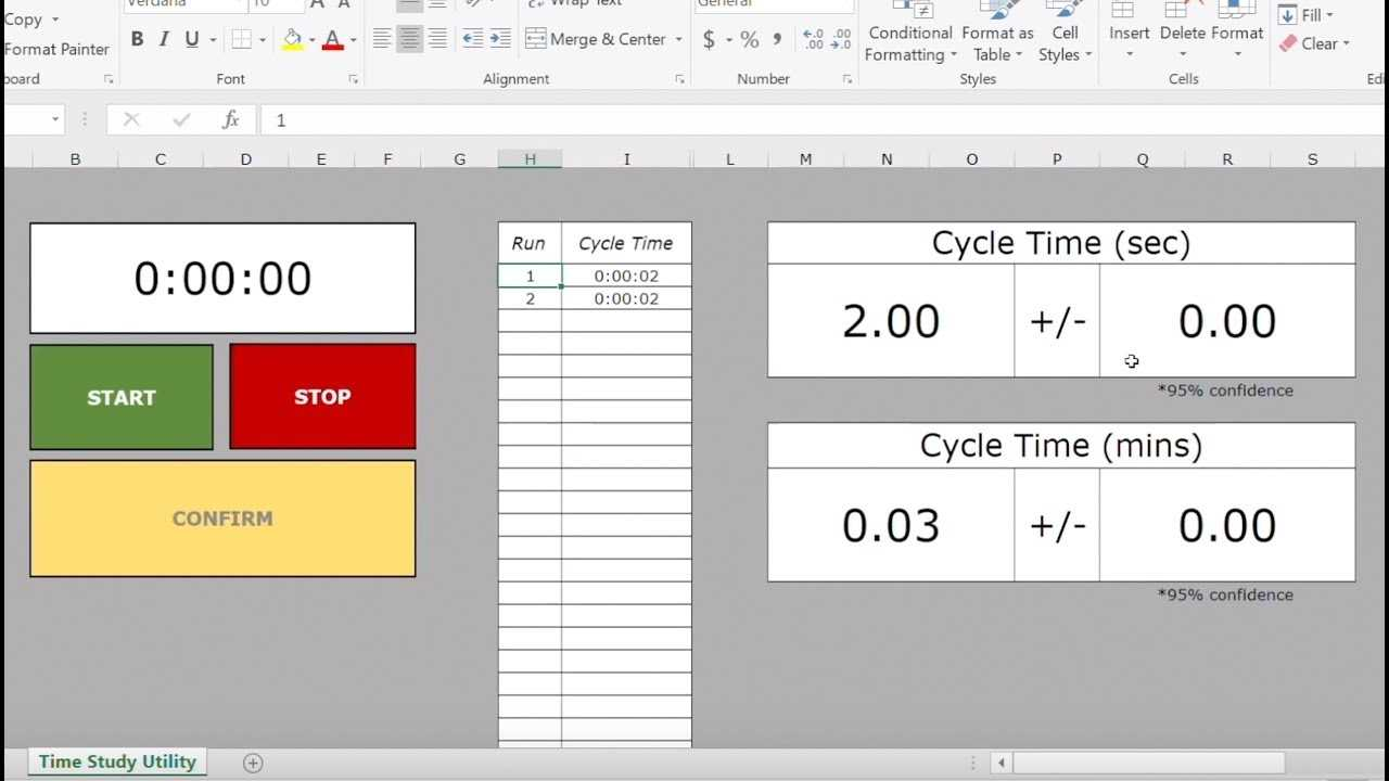 Excel Time Study Template Download Link YouTube