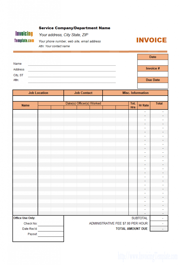 Timesheet Free Invoice Templates For Excel PDF