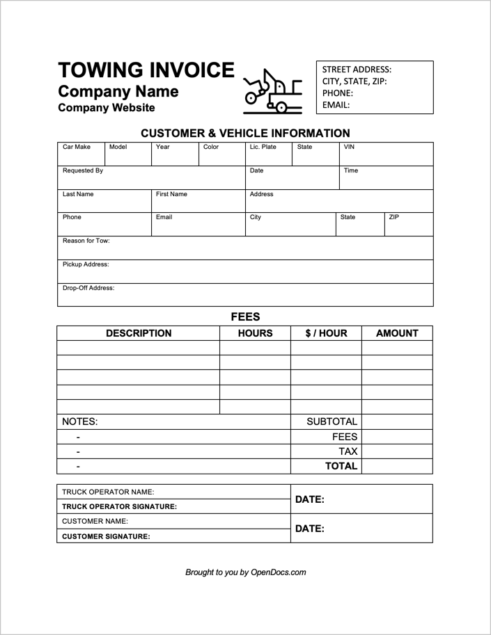 Free Towing Invoice Template PDF WORD EXCEL