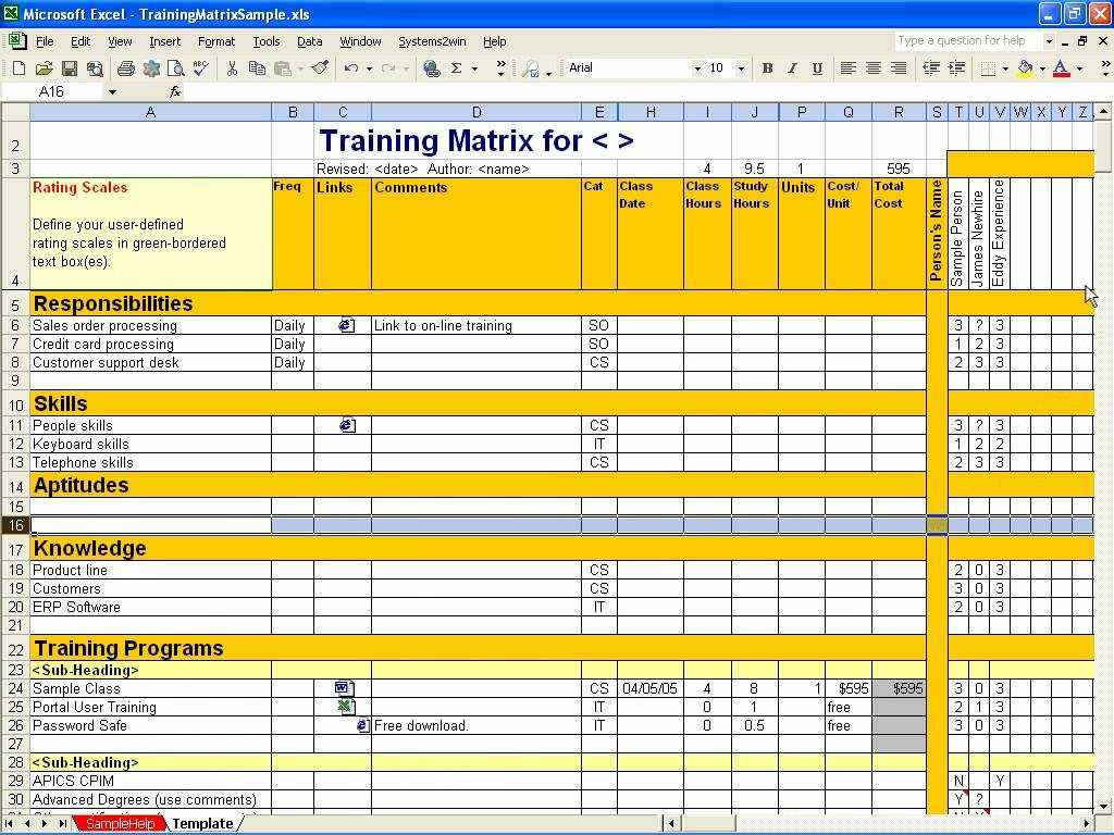 Employee Training Matrix Template Excel Task List Templates