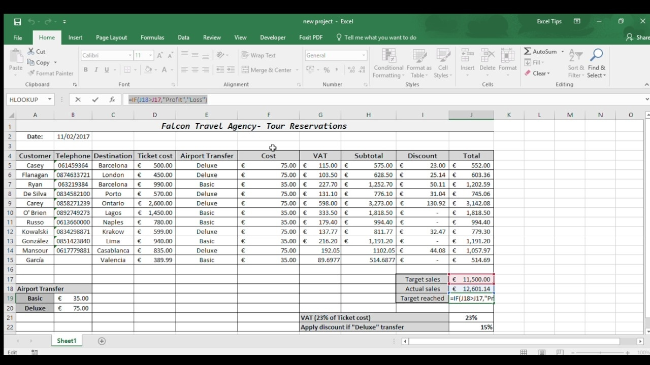Excel Example Of Travel Agency Spreadsheet YouTube