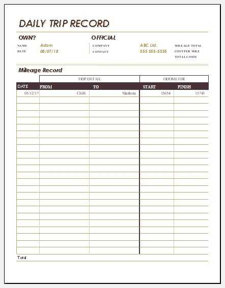 5 Daily Trip Sheet Templates For MS Excel Excel Templates